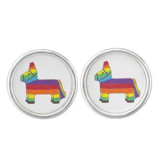 Rainbow Donkey Piñata Cinco de Mayo Pride Fiesta Cufflinks