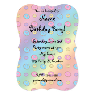 Rainbow donut pattern 13 cm x 18 cm invitation card