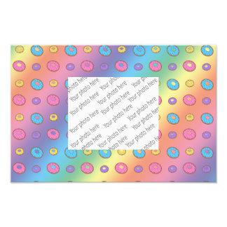 Rainbow donut pattern photo print