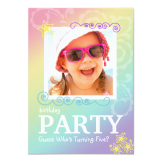 Rainbow Doodle Birthday Party Invitations