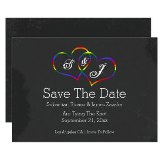 Rainbow Doodle Heart Chalkboard Gay Save The Date Card