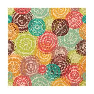 Rainbow Doodle Lace Doily Mandala Circles Wood Prints