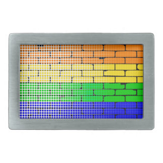 Rainbow Dot Matrix Rectangular Belt Buckle