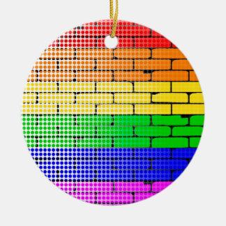 Rainbow Dot Matrix Round Ceramic Decoration