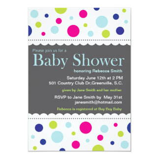 Rainbow Dots Baby Shower Invitation