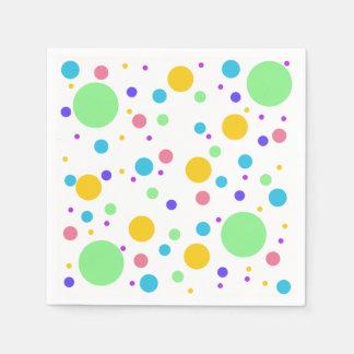 Rainbow dots disposable serviettes