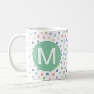 Rainbow Dots Green Monogram Initial Letter Mug