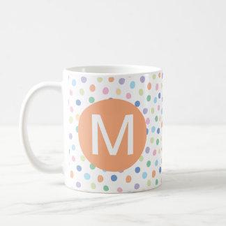 Rainbow Dots Orange Monogram Initial Letter Mug