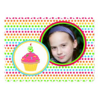 Rainbow Dots Photo Fifth Birthday Party 13 Cm X 18 Cm Invitation Card