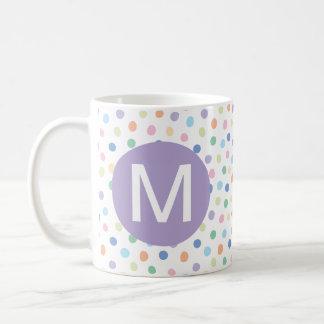 Rainbow Dots Purple Monogram Initial Letter Mug