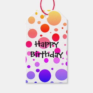 Rainbow Dotted Happy Birthday Gift Tags