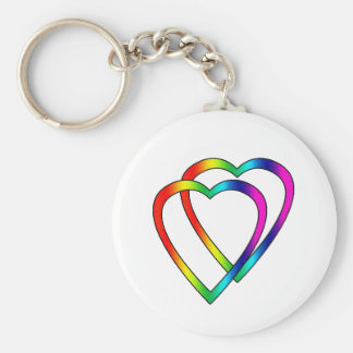Rainbow Double Hearts Basic Round Button Key Ring