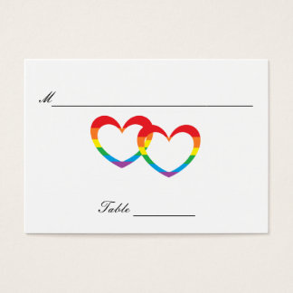 """Rainbow Double Hearts"" Guests' Table Cards"
