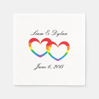 """Rainbow Double Hearts"" Paper Napkins"