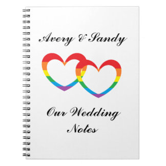 """""""Rainbow Double Hearts"""" Personalized Notebook"""