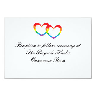 """Rainbow Double Hearts"" Reception Cards 9 Cm X 13 Cm Invitation Card"