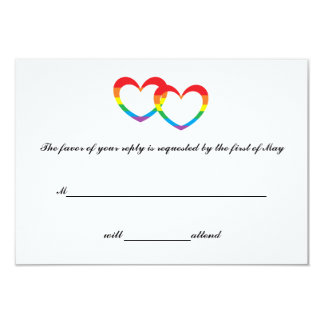 """Rainbow Double Hearts"" RSVP Cards 9 Cm X 13 Cm Invitation Card"