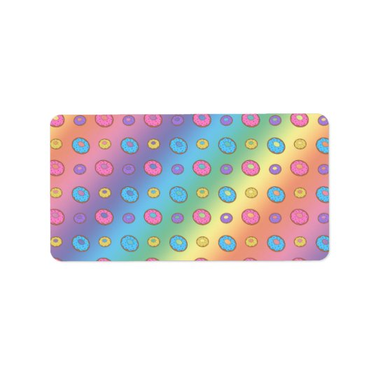 Rainbow doughnut pattern address label