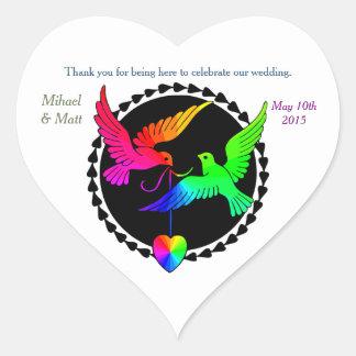Rainbow Doves Gay Wedding Heart Sticker