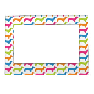 Rainbow Doxie Print Magnetic Picture Frame
