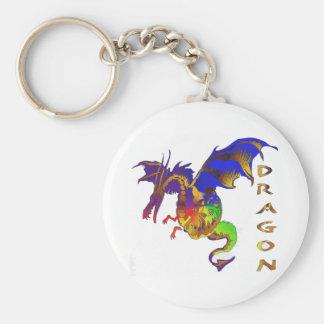 Rainbow Dragon Basic Round Button Key Ring