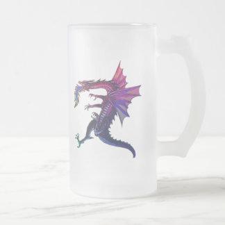 Rainbow Dragon Frosted Glass Beer Mug