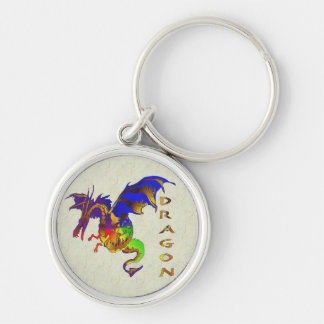 Rainbow Dragon Silver-Colored Round Key Ring