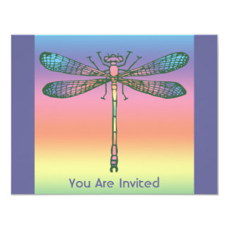 Rainbow Dragonfly 4.25x5.5 Paper Invitation Card