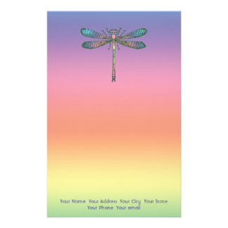 Rainbow Dragonfly Personalized Stationery
