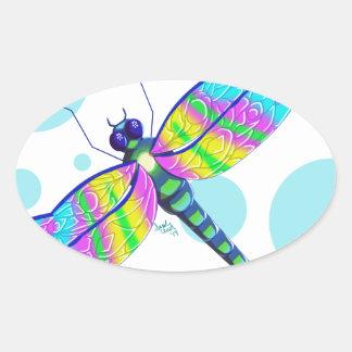 Rainbow Dragonfly Oval Sticker