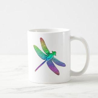 Rainbow dragonfly two basic white mug