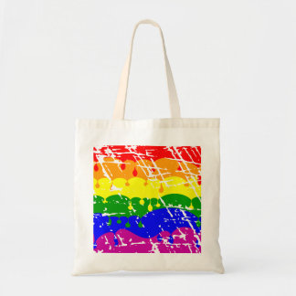 Rainbow Dripping Paint Distressed Bag