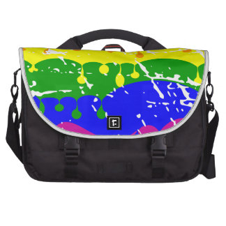 Rainbow Dripping Paint Distressed Laptop Messenger Bag