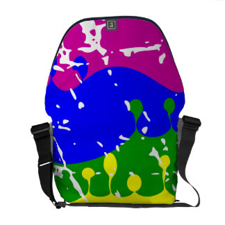 Rainbow Dripping Paint Distressed Courier Bags