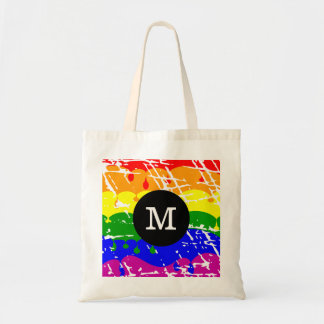 Rainbow Dripping Paint Distressed Monogram Bags