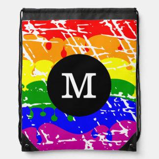 Rainbow Dripping Paint Distressed Monogram Drawstring Backpack