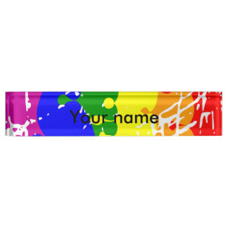 Rainbow Dripping Paint Distressed Nameplates