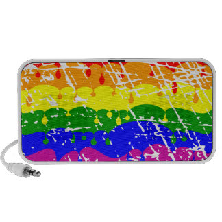 Rainbow Dripping Paint Distressed Notebook Speakers