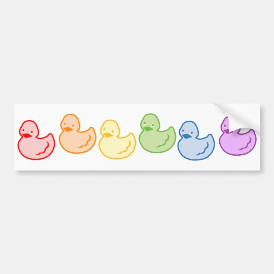 Rainbow Duckies Bumper Sticker