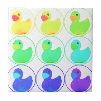 Rainbow Duckies Pattern Design Tile