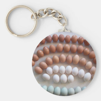 Rainbow Eggs for Rare Breed Hens Basic Round Button Key Ring