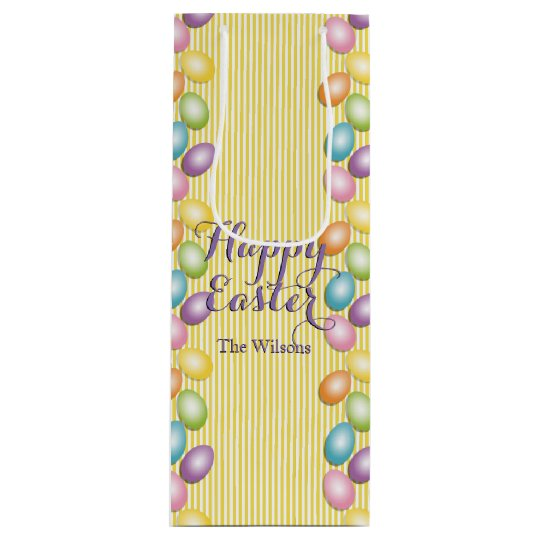 Rainbow Eggs Name or Business Easter Wine Gift