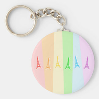 Rainbow Eiffel Tower Key Ring