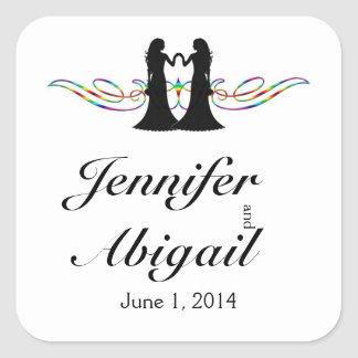 Rainbow Elegance Brides Wedding Envelope Seal Square Sticker