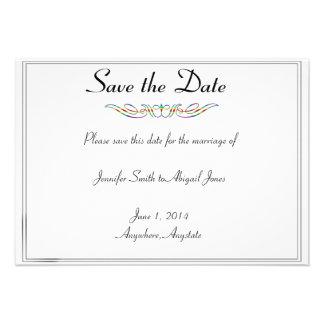 Rainbow Elegance Brides Wedding Save the Date Personalized Invitations