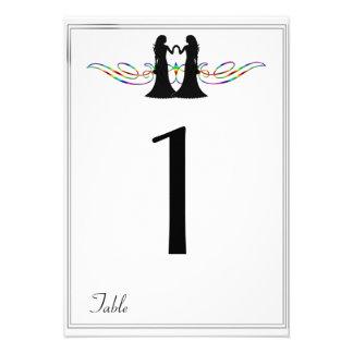 Rainbow Elegance Brides Wedding Table Number Invitations
