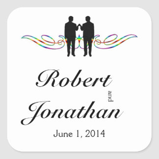 Rainbow Elegance Groom Wedding Envelope Seal Square Sticker