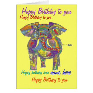 Rainbow Elephant Birthday Card custom front inside