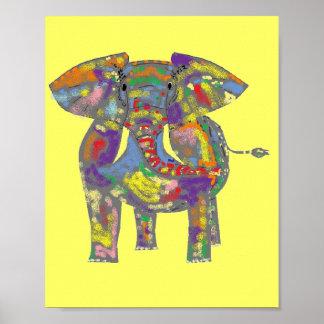 Rainbow Elephant by Janet Davies Poster