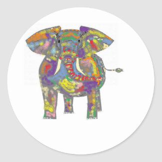 Rainbow Elephant, colourful design,for anyone. Classic Round Sticker